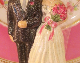 Vintage Reproduction Bride and Groom Cake Topper