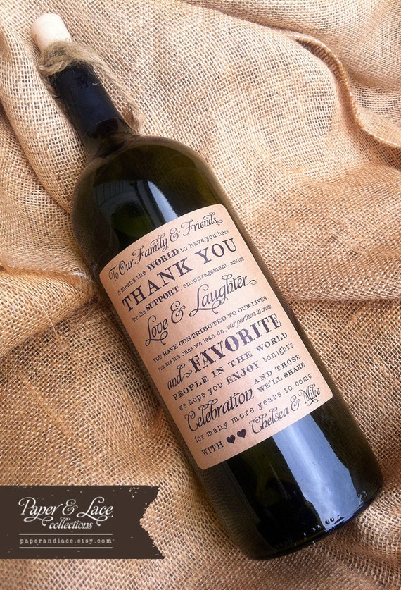 Personalized Wine Labels - Thank You - Favor - Wedding Gift - Centerpiece - Rehearsal