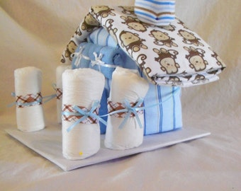 Baby Boy Diaper House - an adorable baby shower gift, made to order