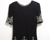 Vintage 1980's SEQUINED BEADED Silk Slouchy Top With Pearl Detail, Size Small