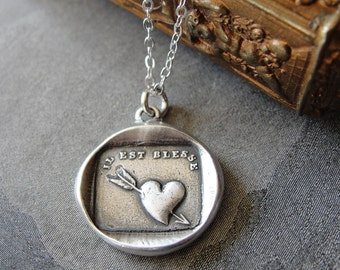 wax seal necklace Heartache - heart and arrow - antique French wax seal jewelry in fine silver