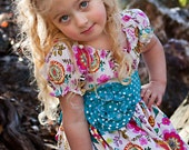READY TO SHIP Size 4T Floral Dress with Polka Dot Sash