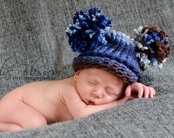 Baby Boy Hat Newborn, Knit Blue and Brown with Pom Pom, Knit Baby Hat, Pom Pom Hat, Baby Elf Hat, Baby Boy Hat, Newborn Baby Hat, Photo Prop