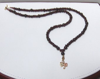 Hand-strung OOAK Garnet  Bead Necklace w/ Black Hills Gold Accent /// January Birthstone