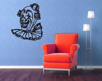 Clown Art, Circus Party, Carnival Birthday, Halloween Decorations, Fair, Retro, Wall Decal, Sticker, Vinyl, Home, Office, Nursery Wall Decal