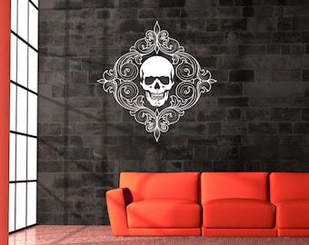 Skull Decal, Skull Decor, Decorative Swirls, Home Decor, Swirl, Scroll, Wall Decal, Holiday Decor, Halloween, Home, Gothic, Bedroom Decor