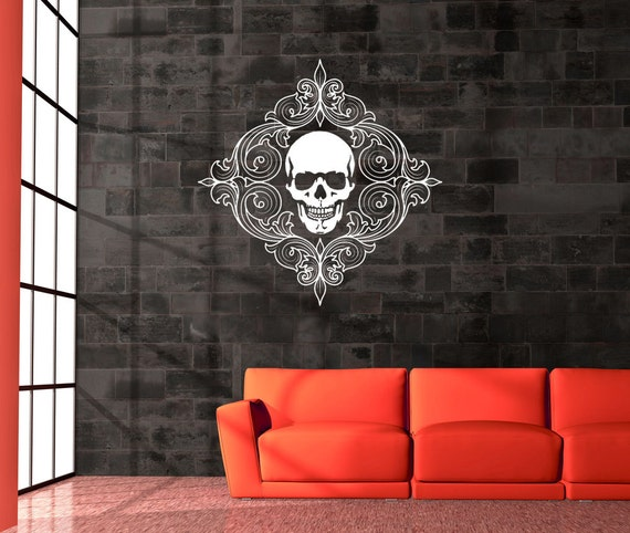 skull decal skull decor decorative swirls home decor