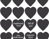 Chalkboard Vinyl Hearts - 35, 75, 100, 125, 165 labels - Mason Jars, Bins, Jars, Glasses, Wedding - FREE CHALK MARKER