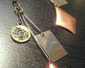 Tri-colored metal earrings