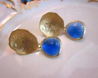 Cobalt Blue Earrings Gold Mushroom Coral - Bridesmaid Earrings - Wedding Earrings - Bridesmaid Jewelry Cobalt