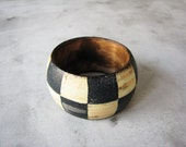 Checked Rustic geometry bracelet vintage checked FREE SHIPPING  wooden bracelet, black and whiite accessory