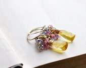 Yellow Gemstone Cluster Earrings in 14k Gold Fill with Violet and Pink Quartz Rondelles Wire Wrap Spring Earrings