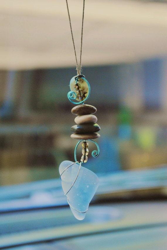 Sea Glass Rear View Mirror Charm - Beach Stones and Sea Glass, Car charm, Mirror dangle, Rear view mirror charm