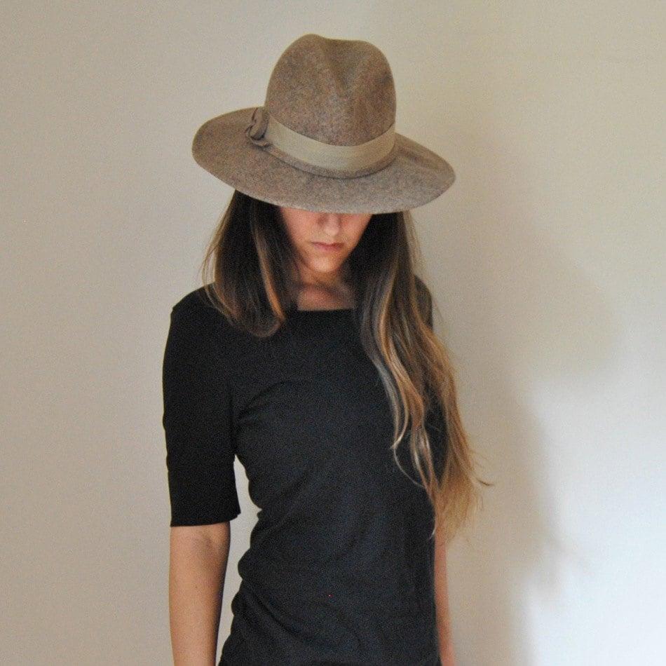 wool wide brim hat vintage s boho by