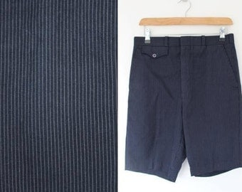 Vintage Men's Pinstriped Tailored Shorts Size Extra Small
