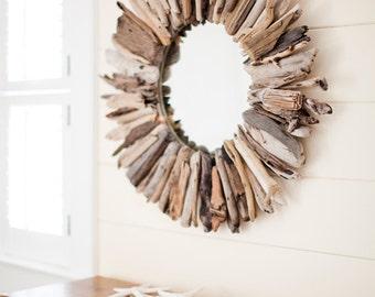 Single Layer Round Driftwood Mirror