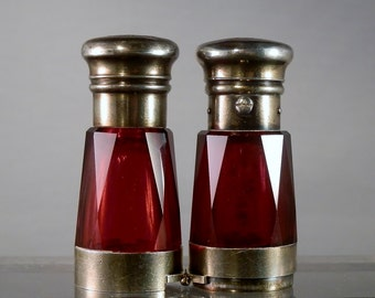 Collectible Bottle Antique Red Glass Scent Bottle Opera Glasses style 1800s Sterling Silver Victorian Era Collectible DanPickedMinerals