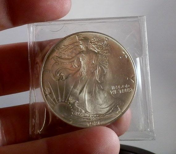 1986 Walking Liberty Silver Dollar Coin 1 Ounce 999 Silver