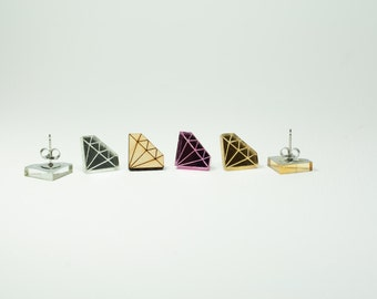 Diamond Earrings -Handmade - Laser Cut