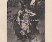 Viking Warrior-Love-Brunhild-1891 Antique Vintage PHOTOGRAVURE Art-Gothic Picture-God-Wagner's Opera-Punishment-Sleep