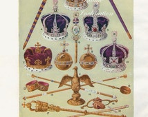 HERALDRY Symbols of Royalty, lithograph bookplate 1950s vintage print illustrations royalty crowns shields