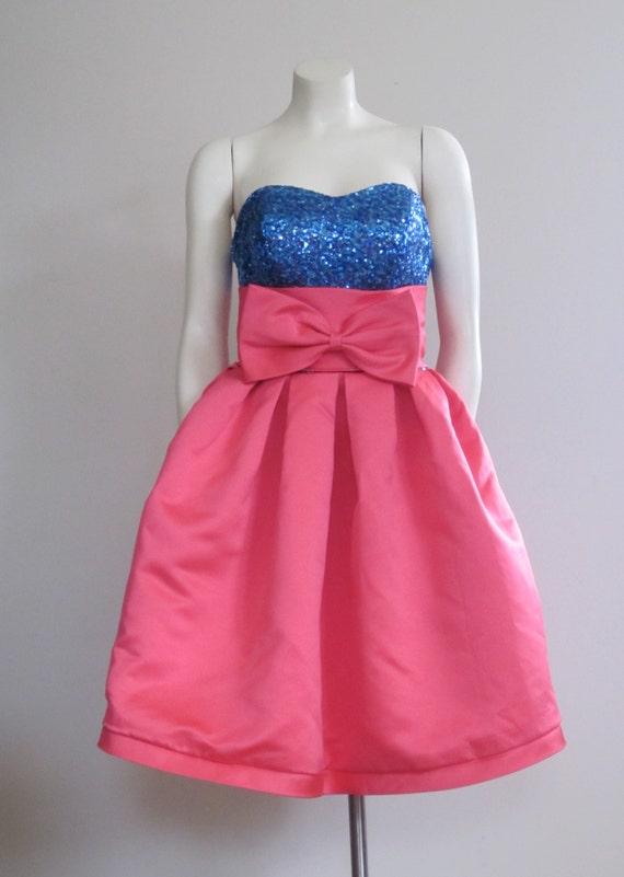 The 80s Prom Dress / Pink / Short Prom Dress / Big Bow Dress / Sequin / Madonna / Marilyn Monroe / Blue / Strapless Prom Dress