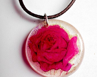 SALE Pink Rose Resin Pendant Necklace White Pearl Pendant Leather Cord Sterling Silver Clasp CLEARANCE CLOSEOUT
