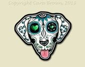 Sugar Skull Dog Sticker  Day of the Dead Vinyl IPhone Decal or Car Window or Bumper size small