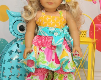 """Suzie's Twirly Top and Dress and Brianna's Pants and Capris 18"""" Doll PDF Pattern"""