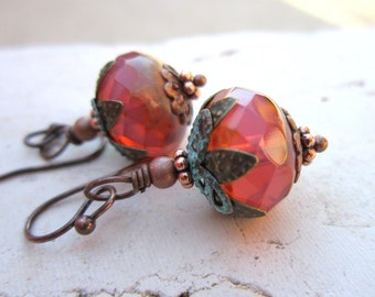 Czech Glass Dangle Earrings. Verdigris Drop Earrings. Copper Earrings. Verdigris Jewelry