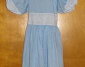 Vintage Girls Tween Dress Size 12 Confetti Collection Light Blue White Dots Lace Trim