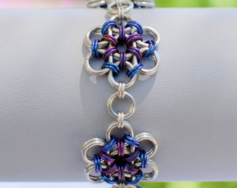 Sterling Silver Japanese Flower Garden Bracelet with Blueberry and Plum Niobium Accents - Ready to Ship