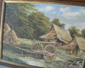 Lovely ORIGINAL/HAY WAGON/Farm Summer Scene/Vintage/Mid West Scenery/Haystacks/Farmland