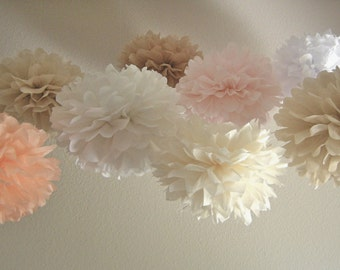 15 Pom Poms - Your Choice of Colors - Custom Tissue Paper Pom-Poms