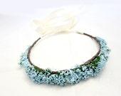 Something Blue Floral Crown, Blue Flower Crown. Woodland, Bridal Crown, Spring, Hair Wreath, Bridal, Weddings, Garden, wedding flower crown - rosesandlemons