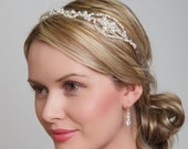 Pearl and Crystal Side Tiara Headband, Wedding Hair Accessories Ivory Pearl and Clear Crystal - Swarovski Elements
