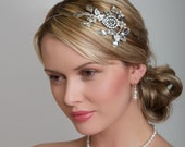 Bridal Hair Piece, Bridal Headpiece - Leaves Bridal Headpiece, Silver Bridal Headpiece, Crystal Bridal Headpiece