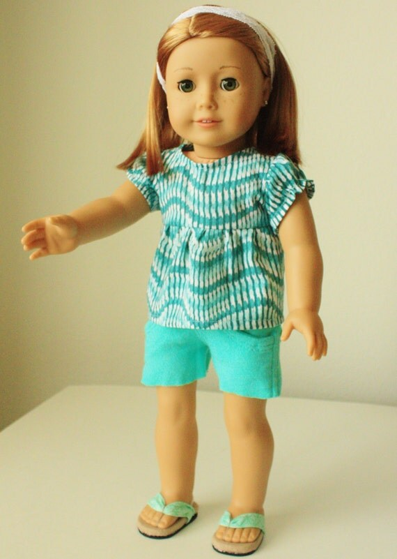 Trendy shorts outfit, with flip flops and headband for American Girl, 18 inch doll, modern clothes