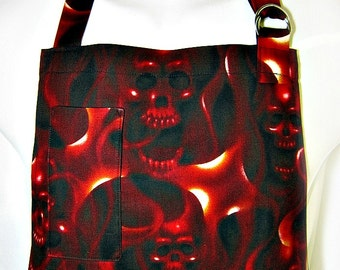Apron Mans, SKULLS on FIRE, Red & Black, Alexander Henry, Chefs Style BBQ Grill Unique Gift