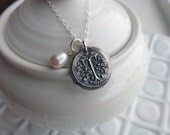 Custom Wax Seal Necklace - - Vintage Inspired Monogram with Freshwater Pearl - - Wax Seal Pendant