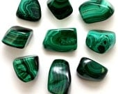 2 Large Premium MALACHITE Tumbled Stone Healing Crystal and Stone for Protection Memory Health Reiki Wicca Green Stone #SP2
