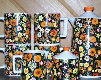 Vntg Orange Poppies Serving 9 Piece Set Coffee Pot