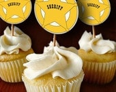 Printable Cupcake Toppers / Gift or Favor Tags, Square or Round - Print Your Own - Cowboy - Sheriff Badge - Birthday or Theme Party