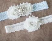 SALE!!! Wedding garter, Ivory and blue garter set, Bridal garter, Vintage Wedding