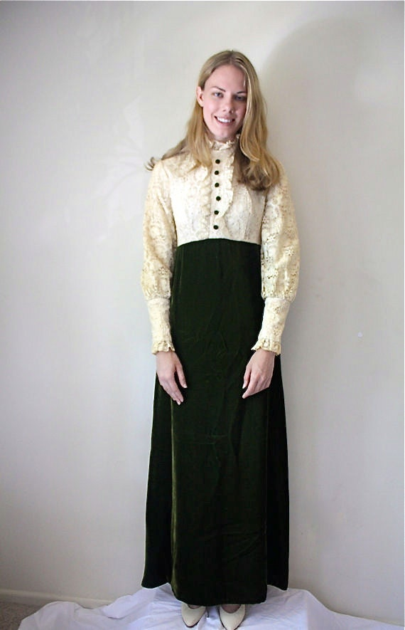 Vintage 60s Victorian Dress/ Lace/ Small