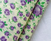 1940s Floral Fabric Cotton Dimity Fabric Tiny Purple Roses on Pale Yellow Background