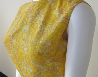 Vintage 1960's Dress Yellow Paisley