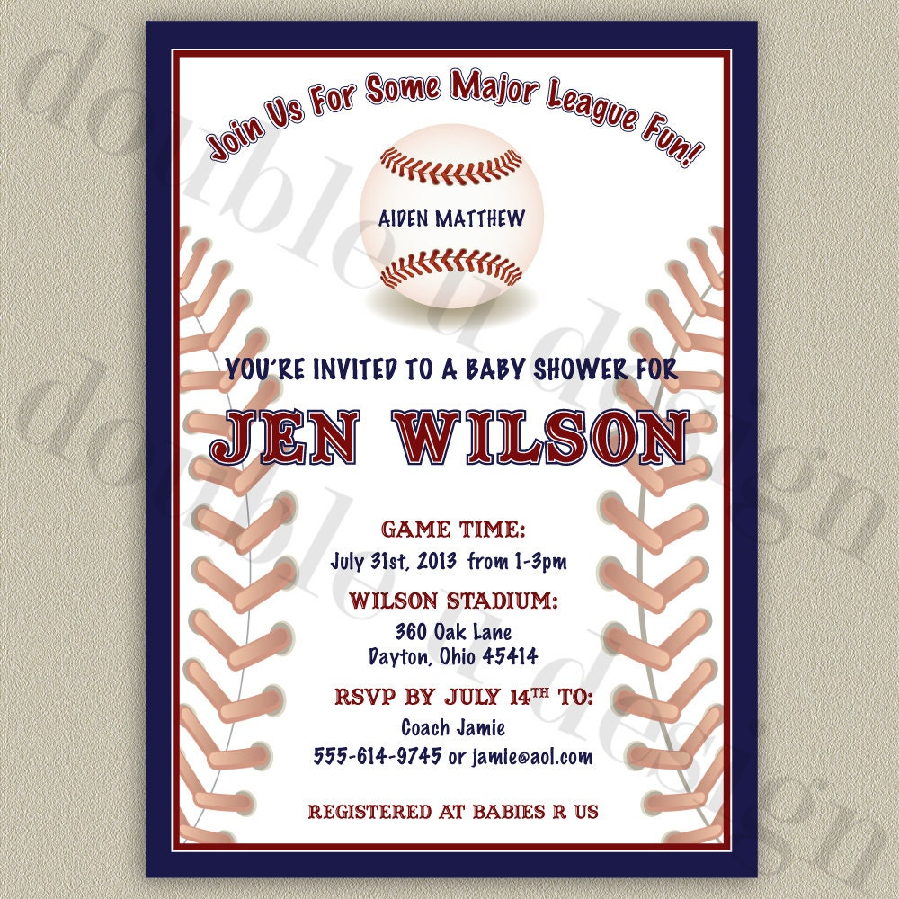 all star baseball baby shower invitation personalized