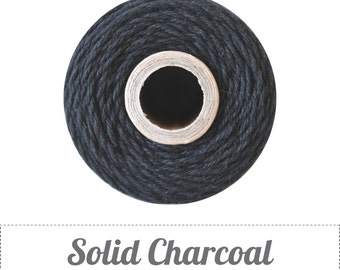 Solid Charcoal Black Twine - 20/50/240 yds - by The Twinery