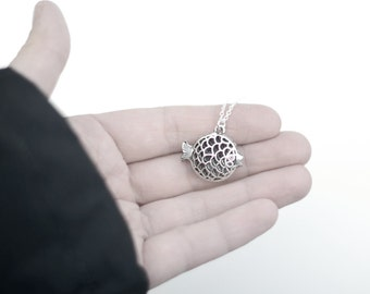 Puffer Fish Necklace- Ocean Blow Fish Charm Jewelry- Vintage Style- Unique, Fun Gift Ideas- Under 20